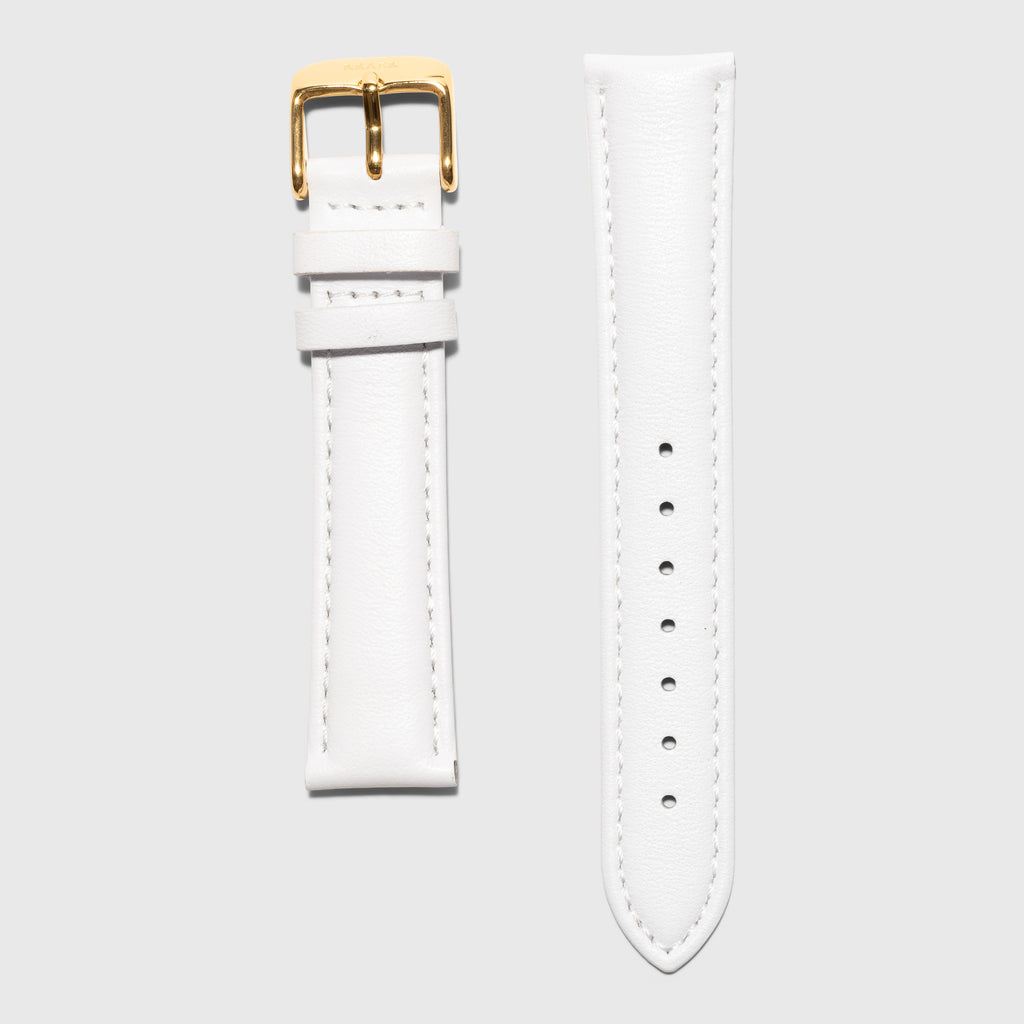 Gold women's strap - white leather strap - convertible - Kraek - Amsterdam watch company -  for al 16 mm strap watches