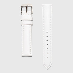 white leather strap - for women's watches - silver buckle - 16 mm - Kraek