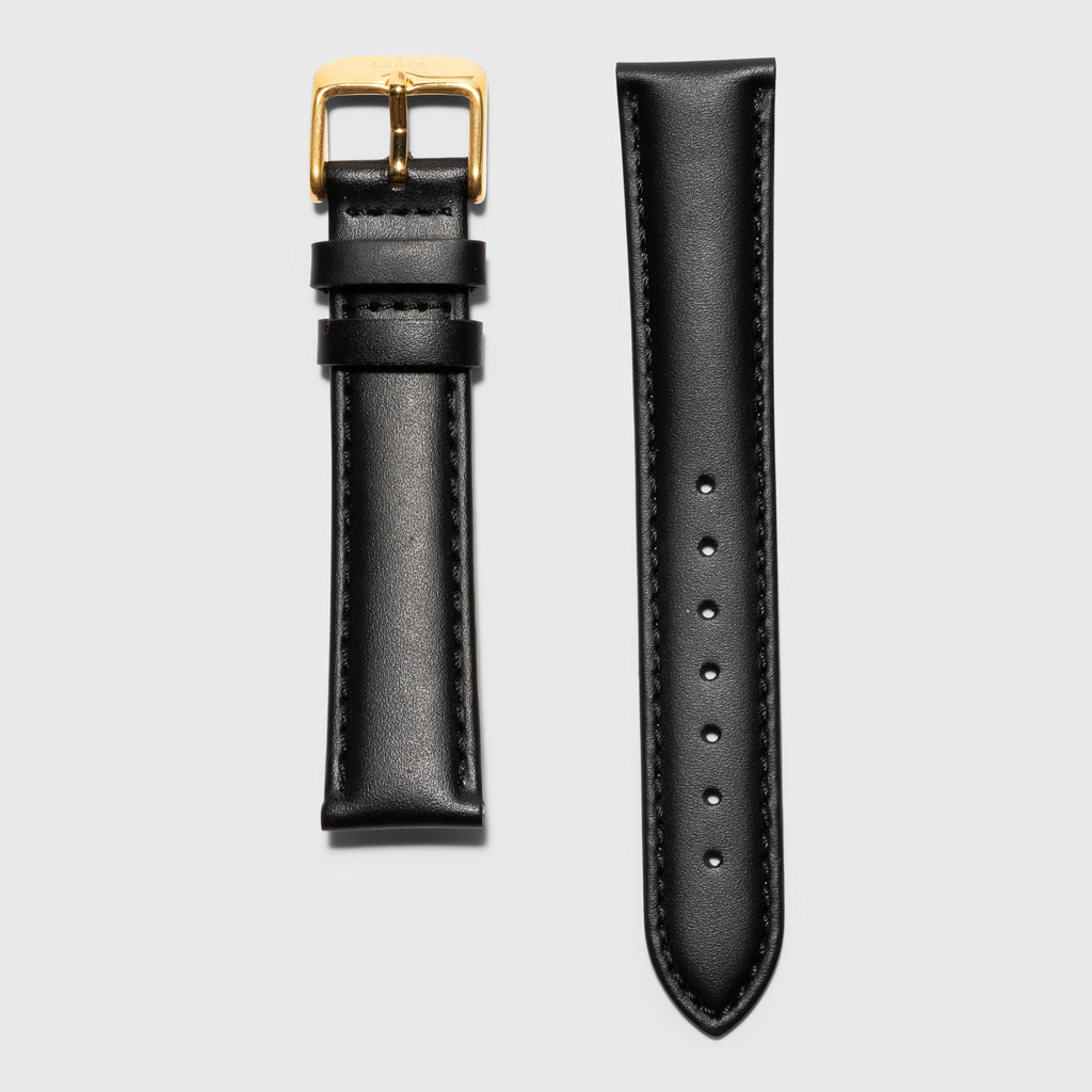 Black leather women's strap convertible - Gold Buckle -  Kraek - 18mm