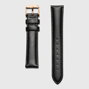 Kraek- Black leather strap - for women's watches - rose gold buckle - 18 mm