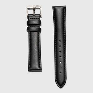 black leather strap - for women's watches - silver buckle - 18 mm - Kraek