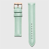 Green leather strap - for women's watches - rose gold buckle - 18 mm - Kraek
