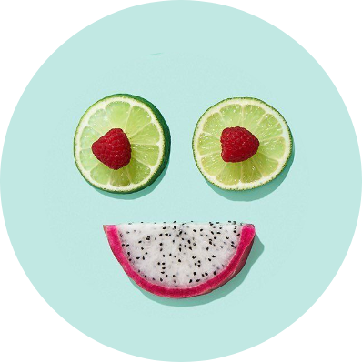 smiley made of fruits