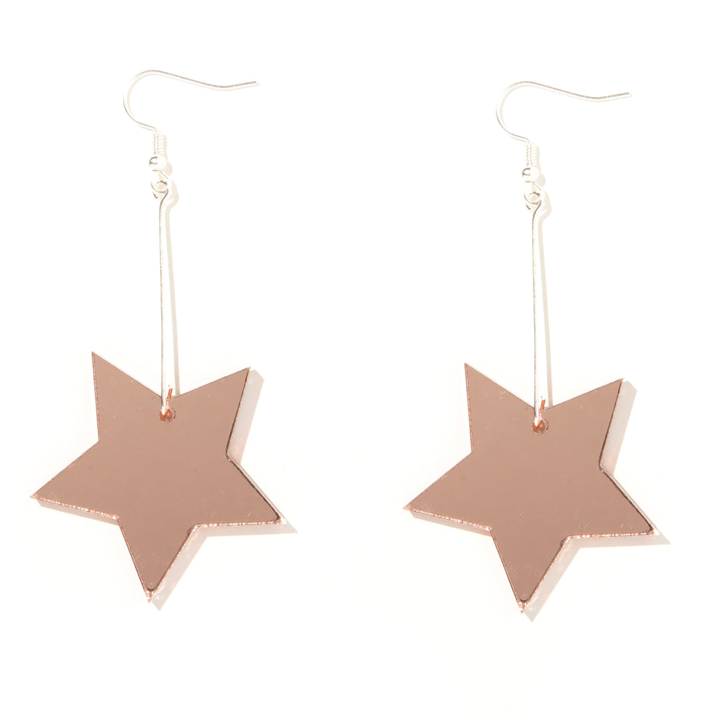 Star Earrings // Rose Gold Mirror