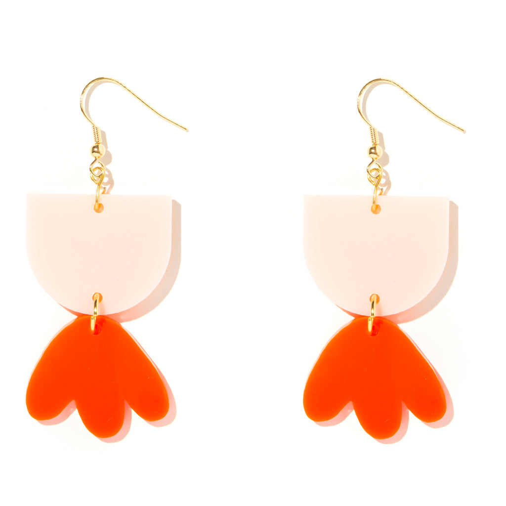 Bambi Earrings // Pale Pink + Neon Red