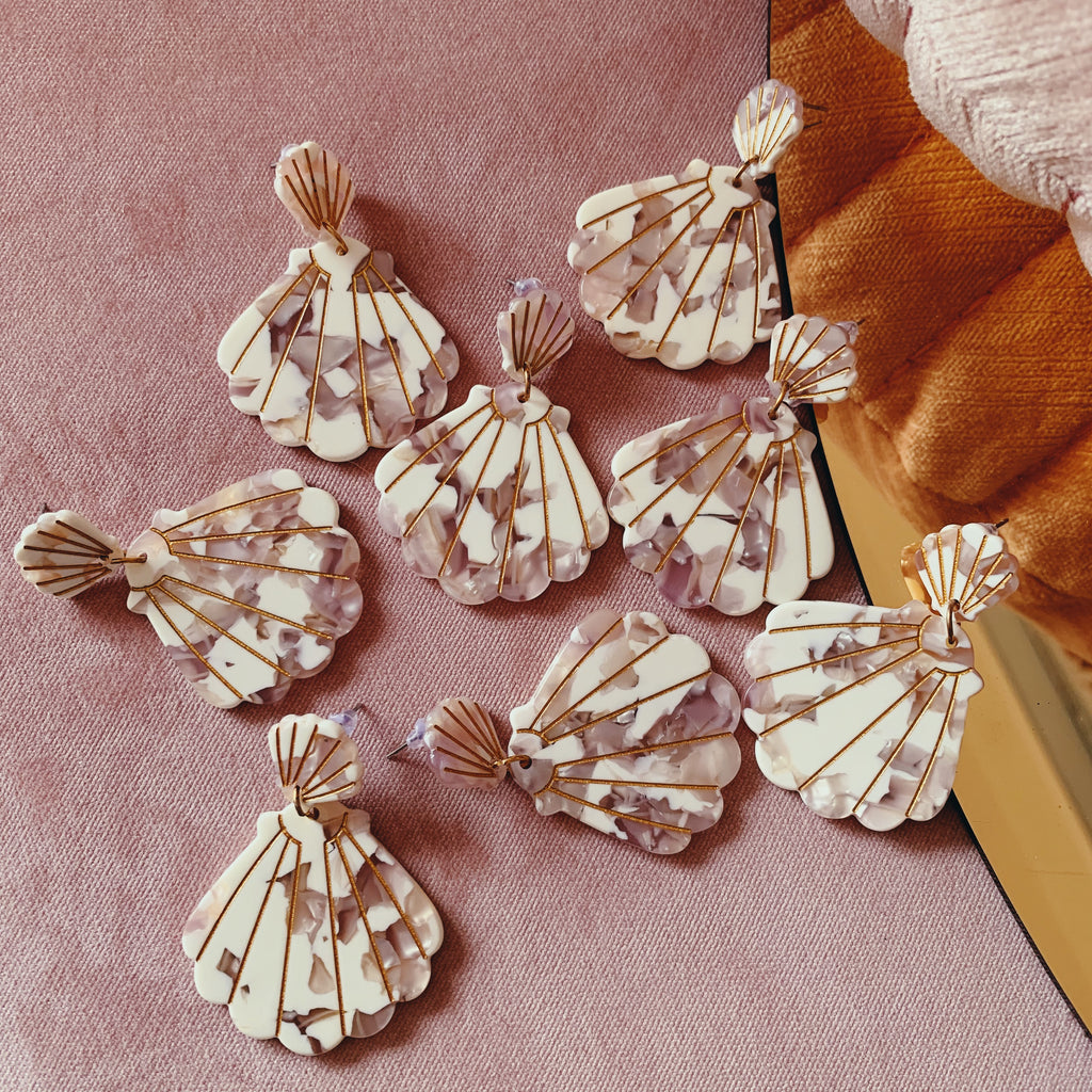 Shell Drop Earrings // white, pearl pink, gold