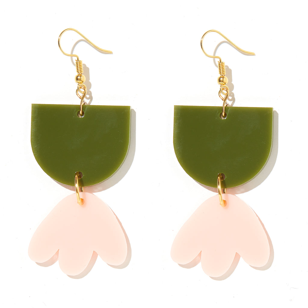 Bambi Earrings // Olive Green with Pale Pink
