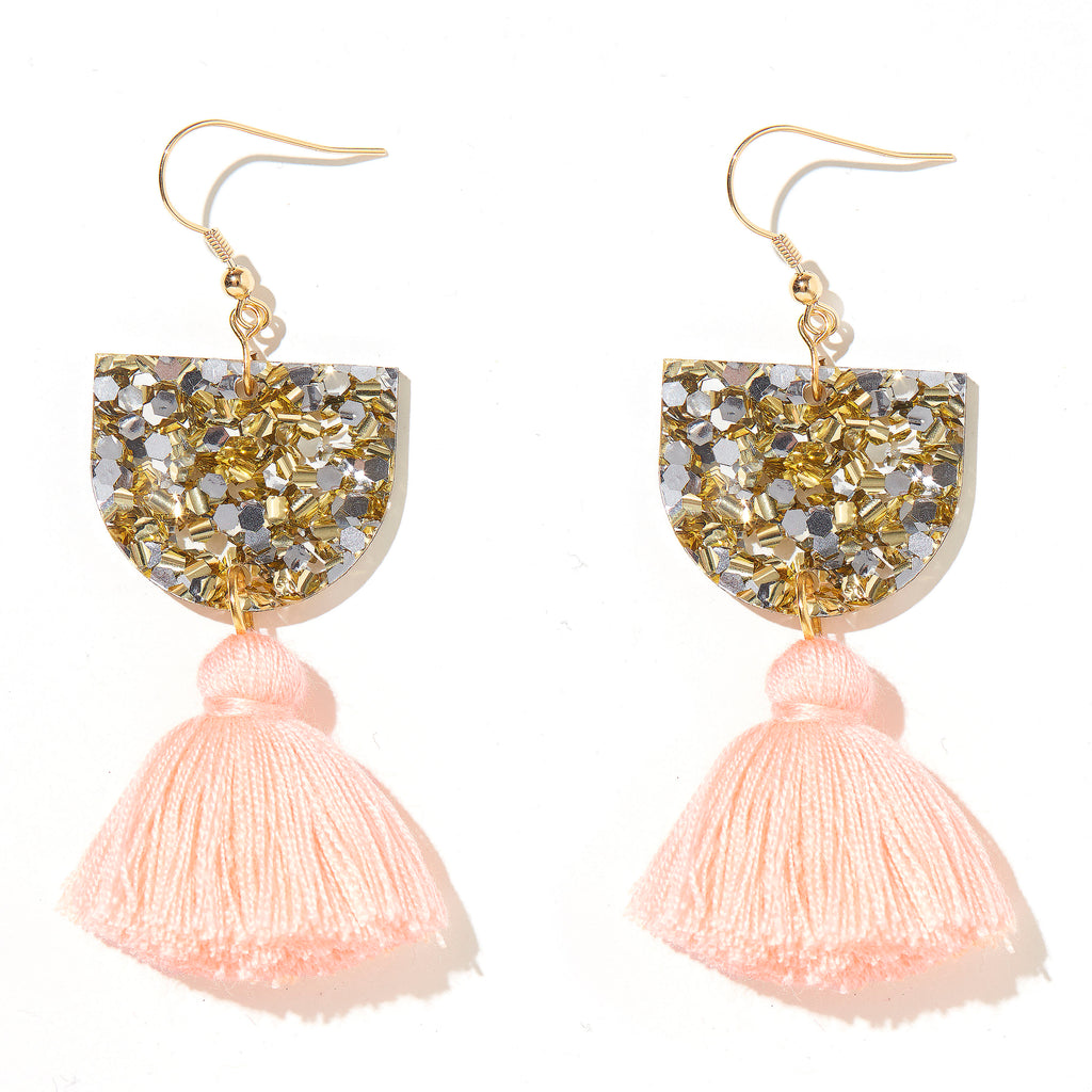 Annie Earrings // Gold & Silver with Peach