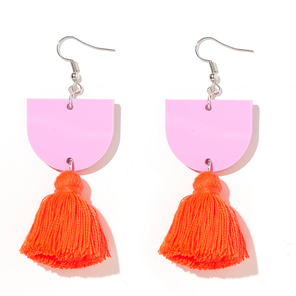 Annie Earrings // Lavender with Neon Red/Orange