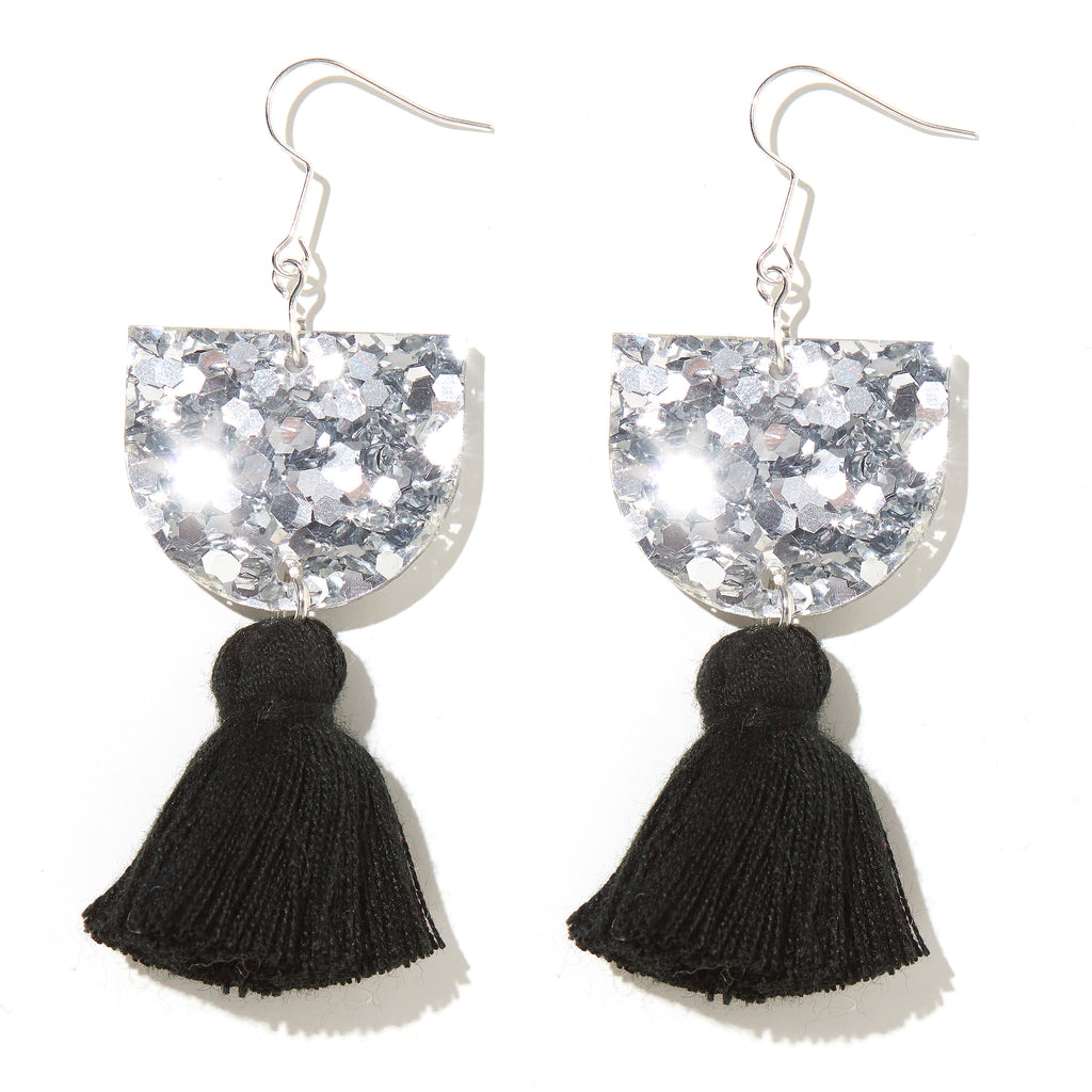 Annie Earrings // Silver with Black