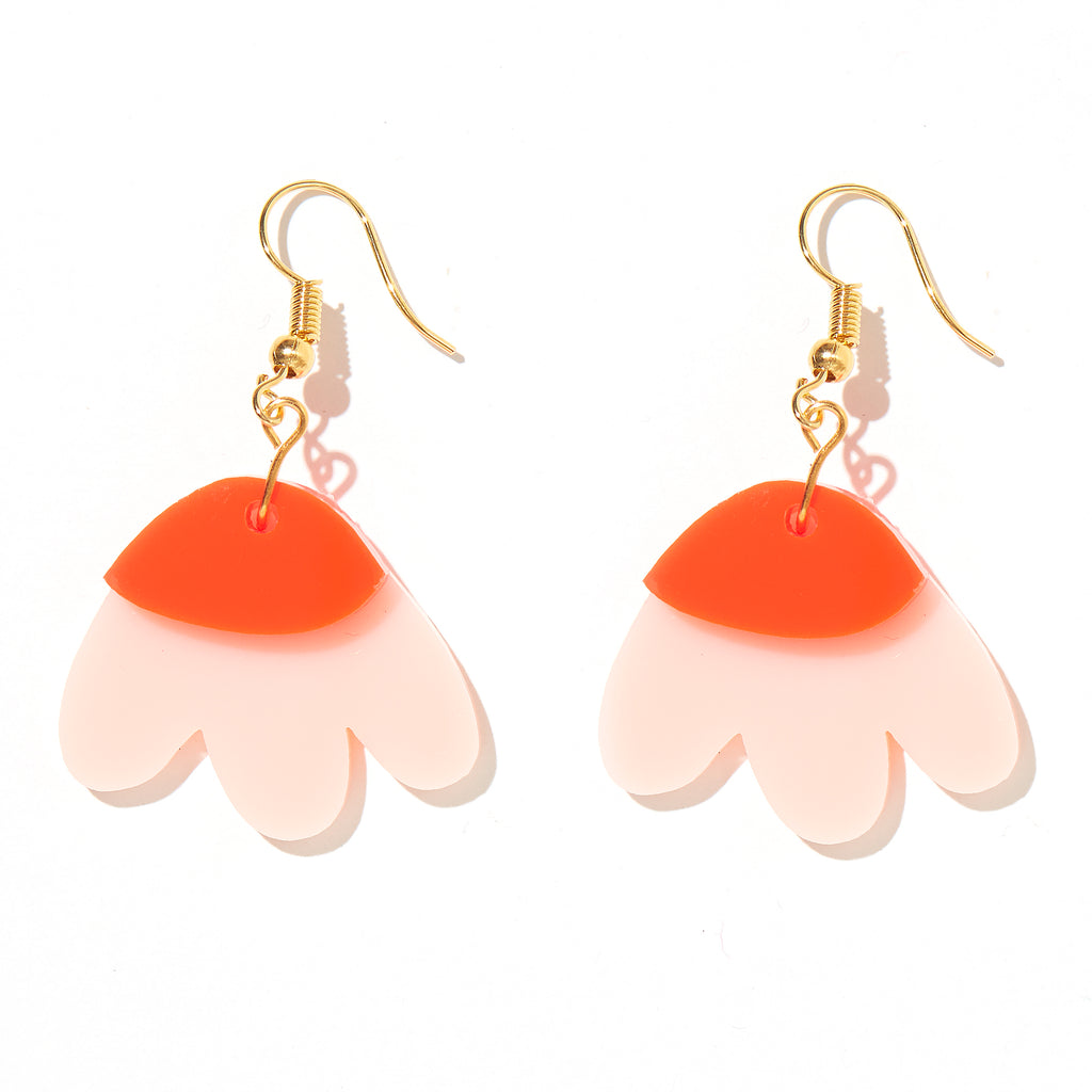 Elle Earrings // Light Pink + Neon Red