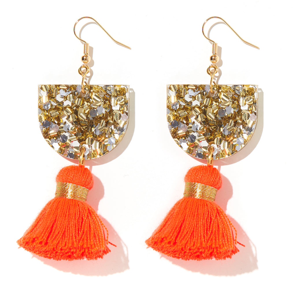 Annie Earrings // Gold & Silver with Neon Red/Orange