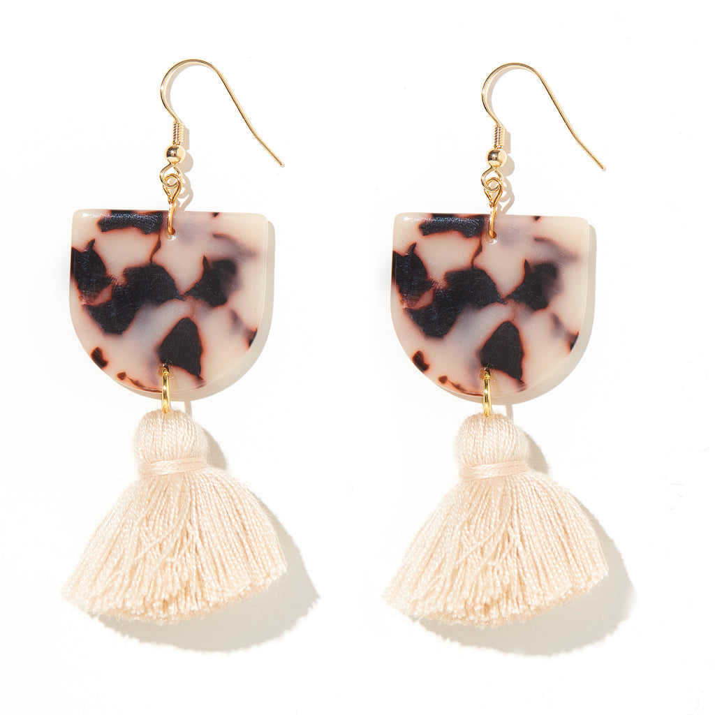Coco Earrings // White Tortise Shell Perspex + Beige