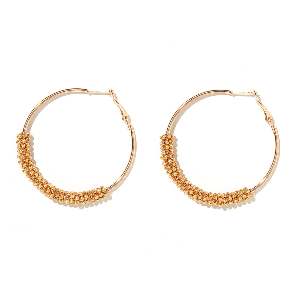 Sprinkle Earring // Gold beads on Gold hoops
