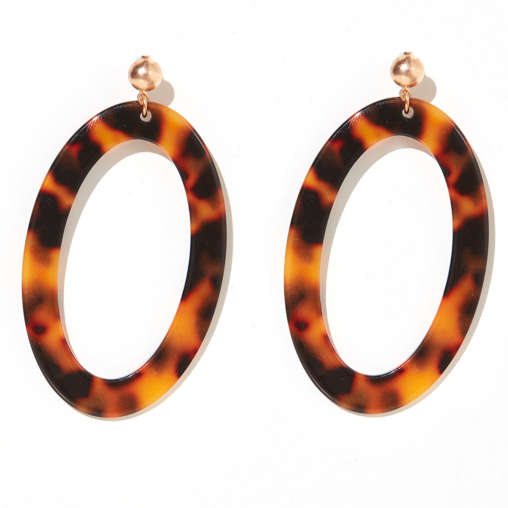 Nina Earrings // Yellow Tortise drop circles