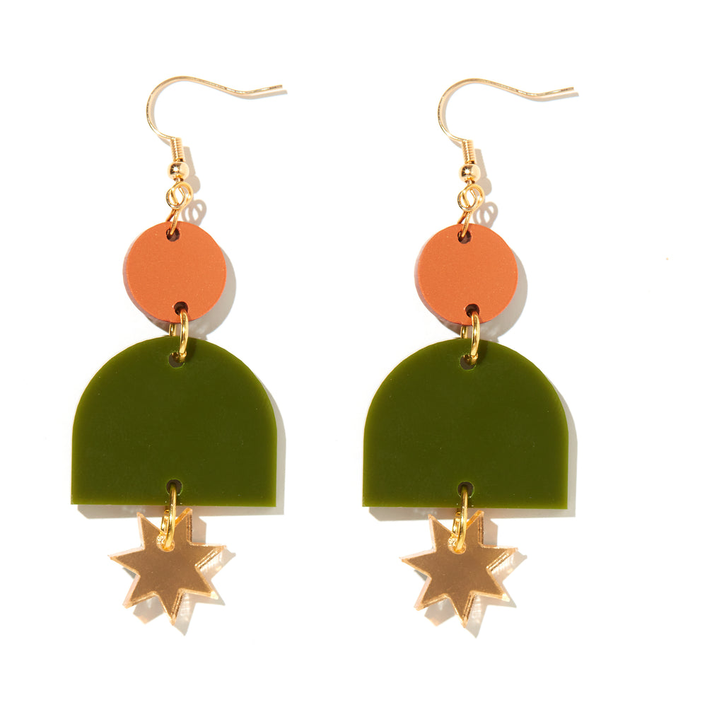 Alexa Earrings // bronze, olive and gold