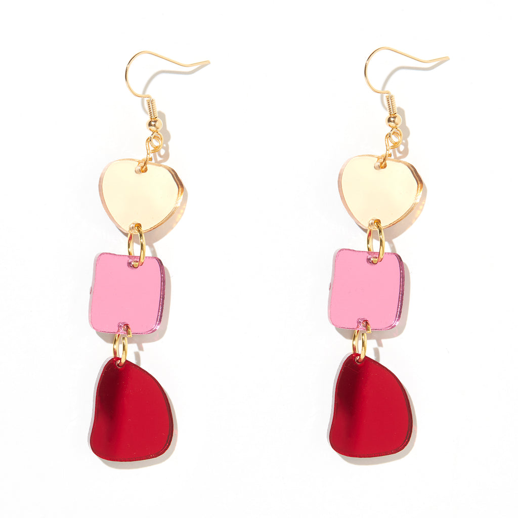 Vera Earrings // Gold, Pink + Red Mirror
