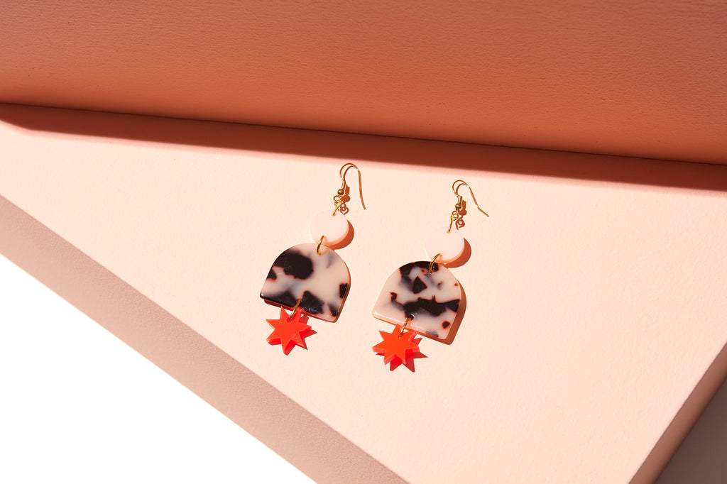 Alexa Earrings // Pale Pink, Tortise + Neon Red