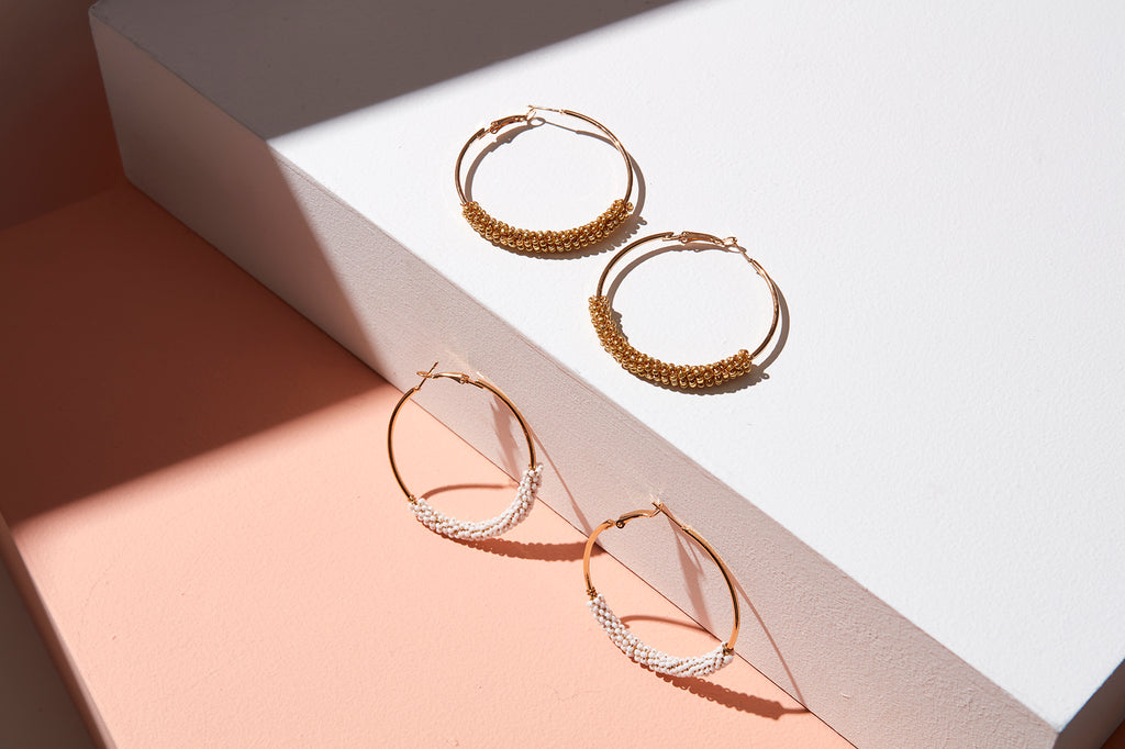 Sprinkle Earring // White beads on Gold hoops