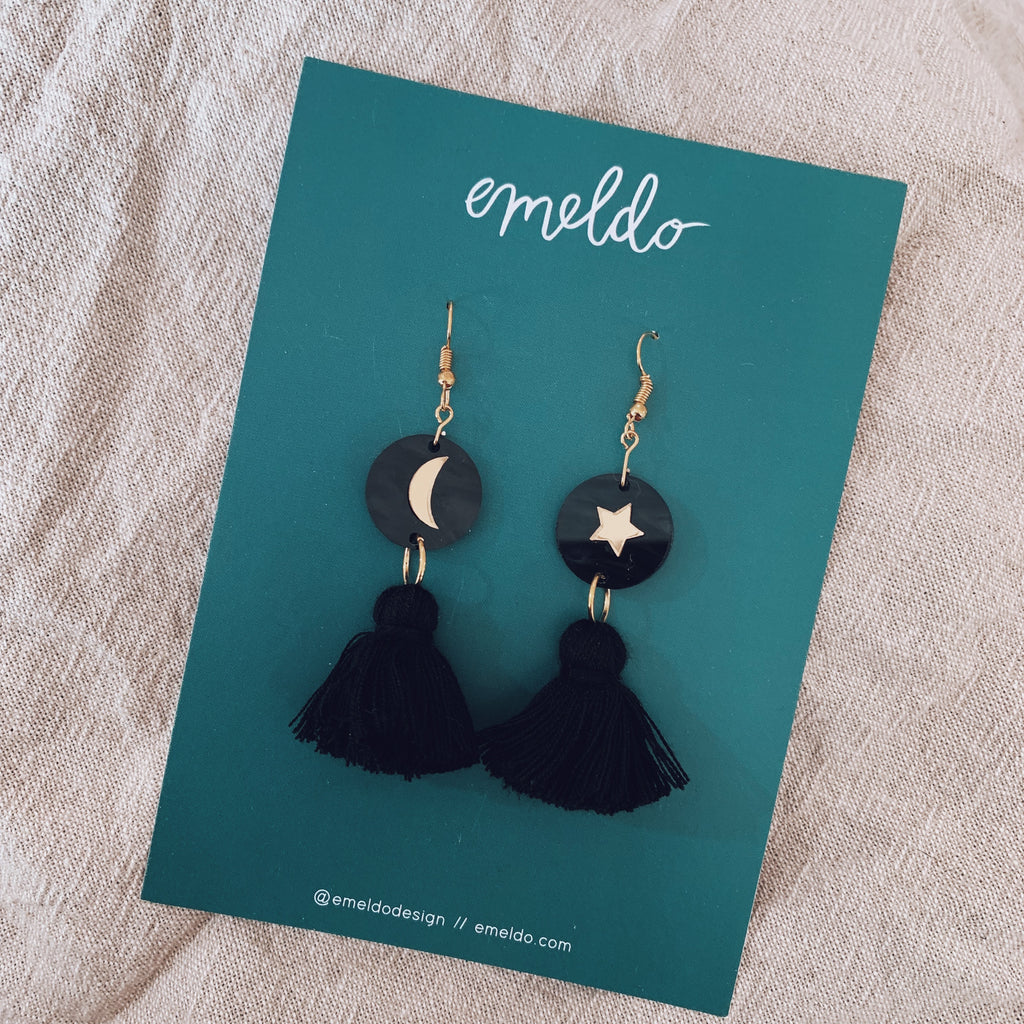 Astrid Earrings // Black + Gold