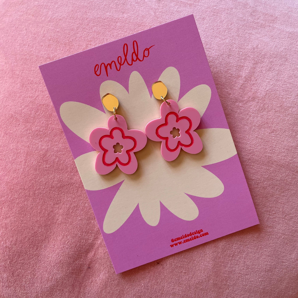 Mallow Pink Flower Earrings // Pink +  Red