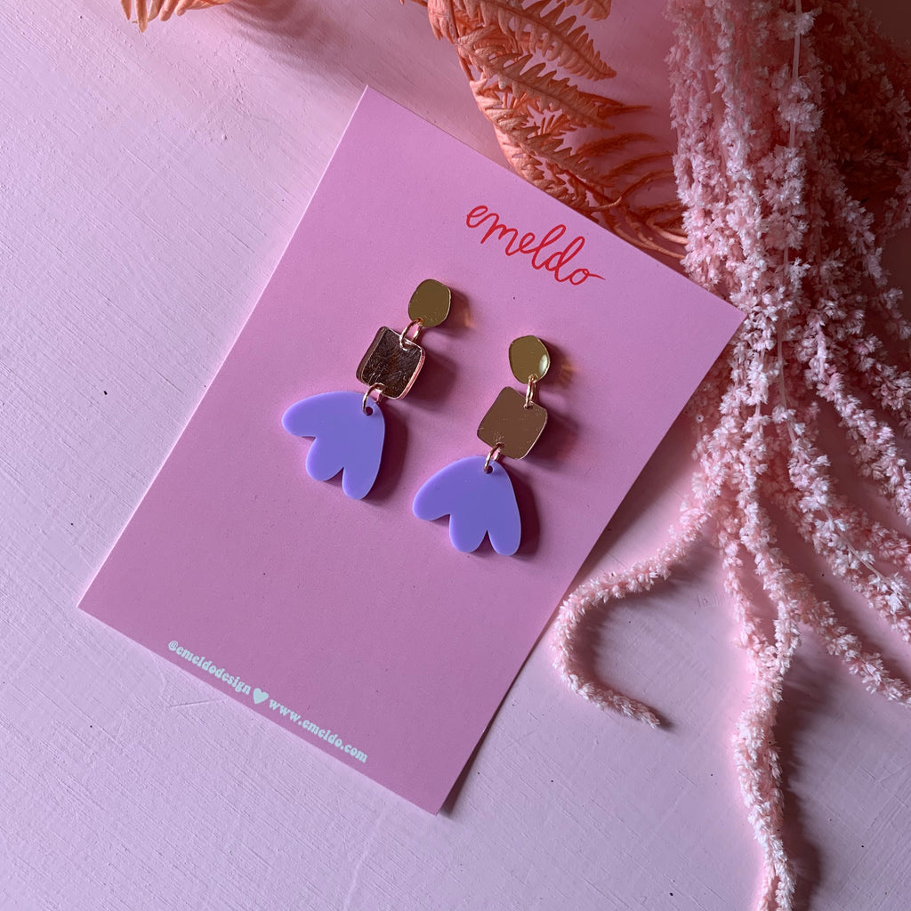 Jenna Earrings // Gold, Rose, Lavender