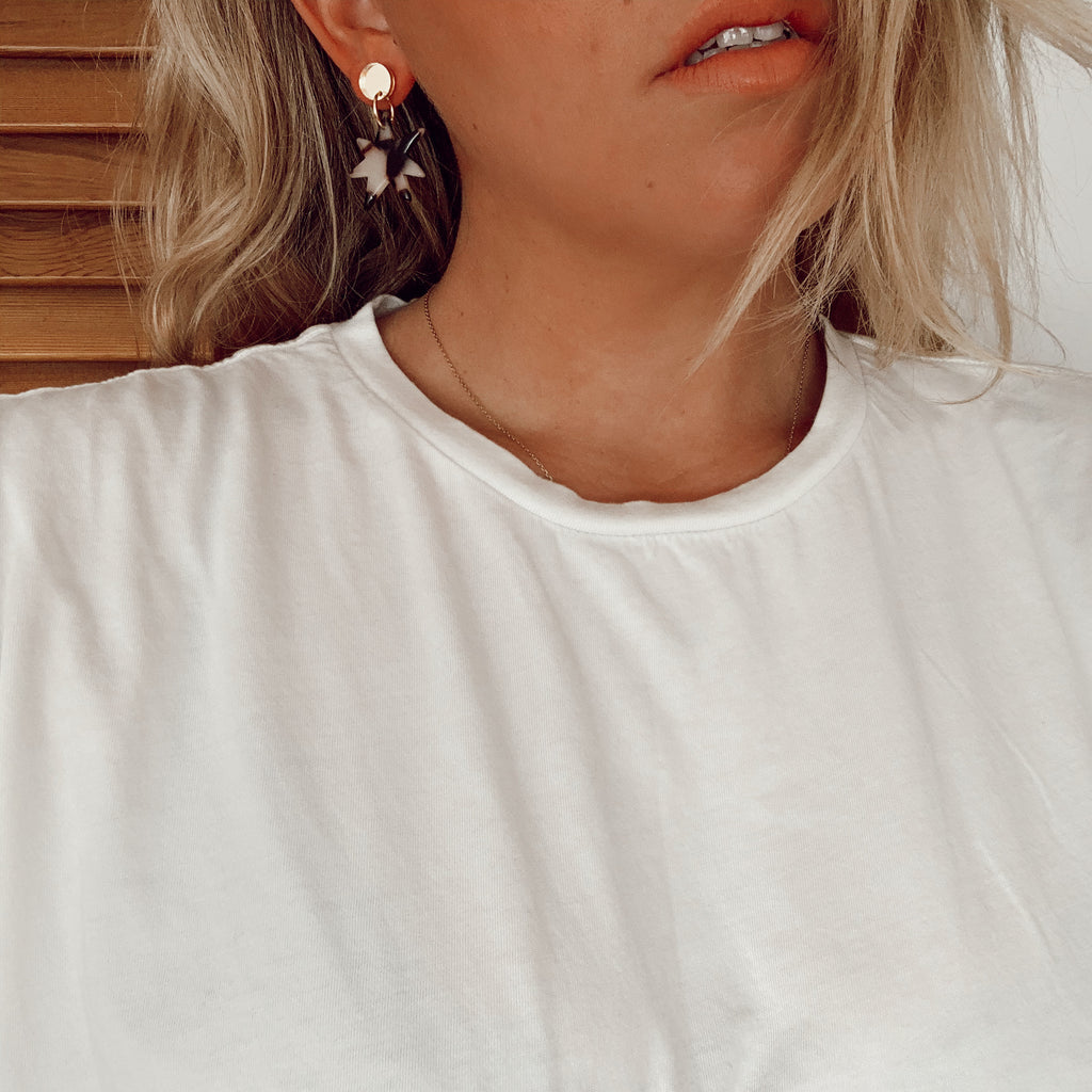 Gertie Earrings // Gold mirror stud with tortoise