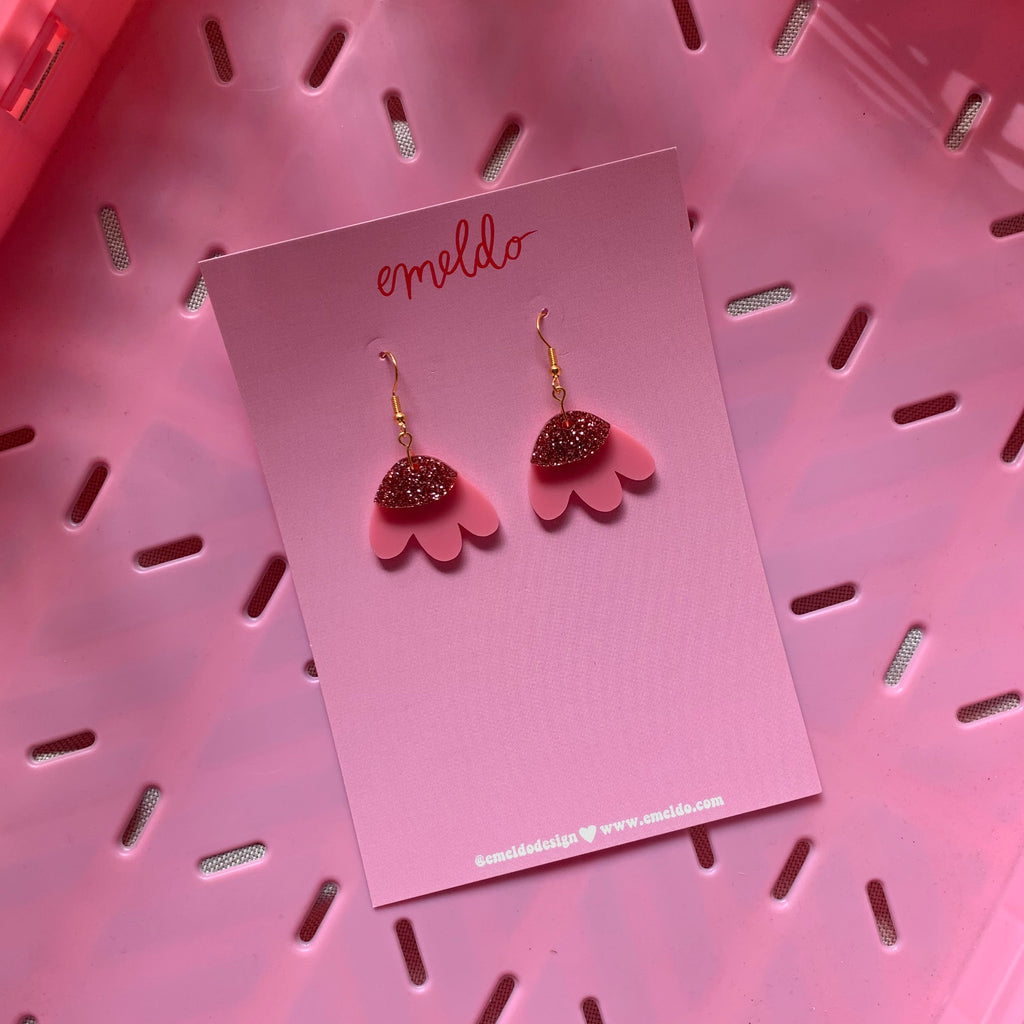 Elle Earrings // Pink with pink glitter