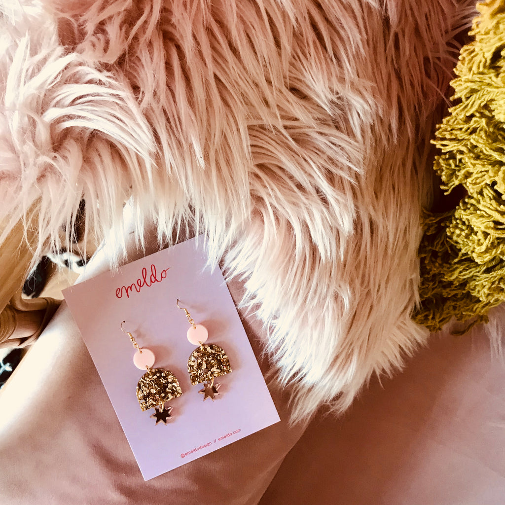 Alexa Earrings // Pale Pink, Chunky Gold Glitter + Rose Gold