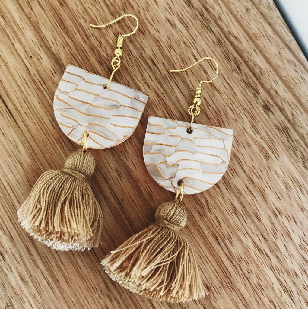 Annie Earrings // Shell + Gold Tiger with Camel Tassel