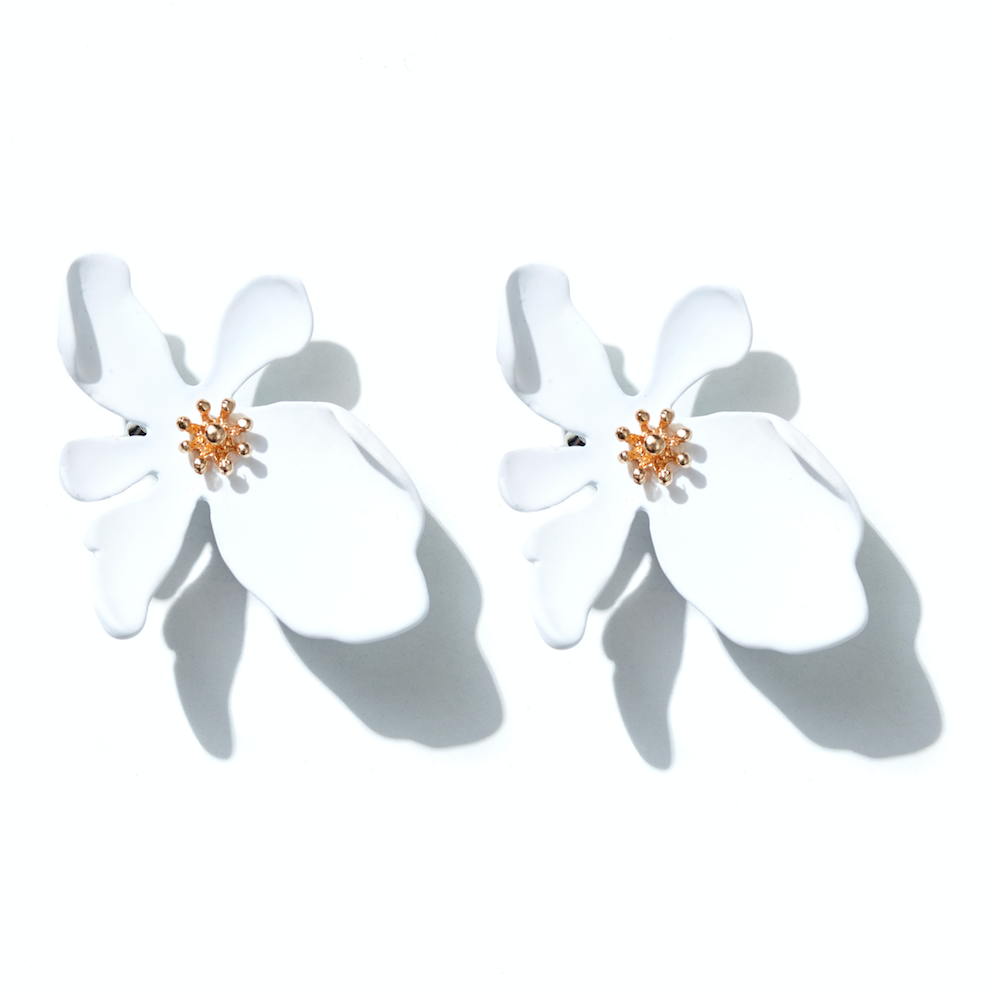 Orchid Earrings // white + gold