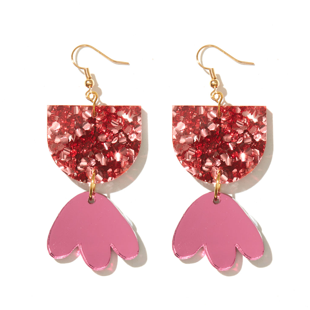 Bambi Earrings // Rose Chunky Glitter with Pink Mirror
