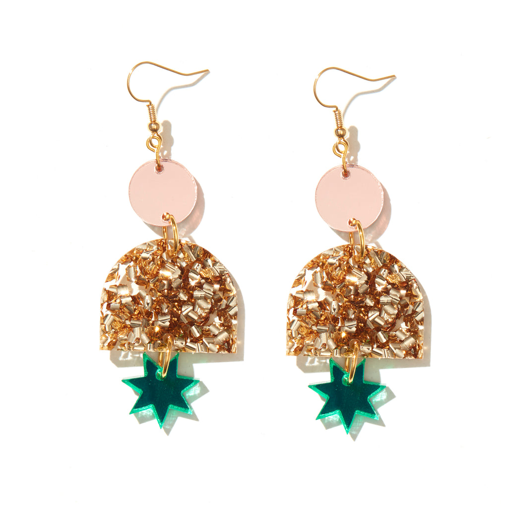 Alexa Earrings // rose mirror, chunky gold, green