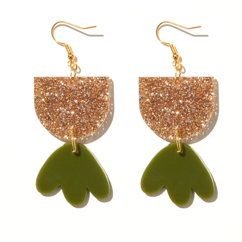 Bambi Earrings // fine gold glitter and olive