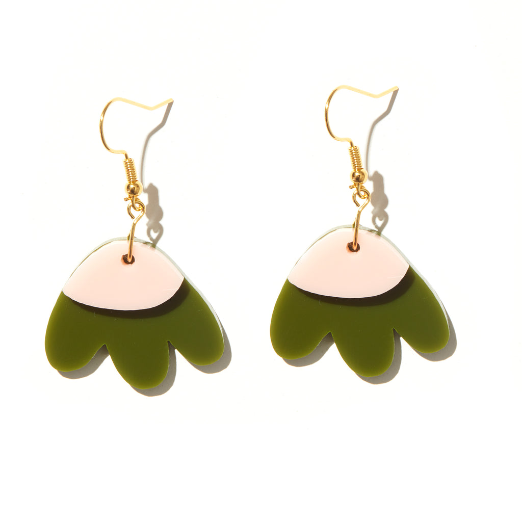 Elle Earrings // Olive with baby pink