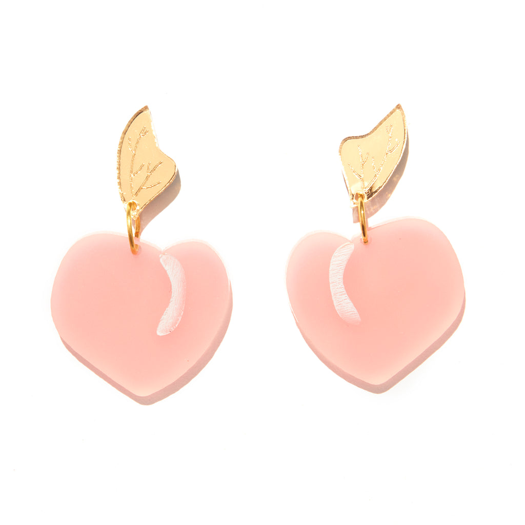 Peach Earrings // Pink + Gold