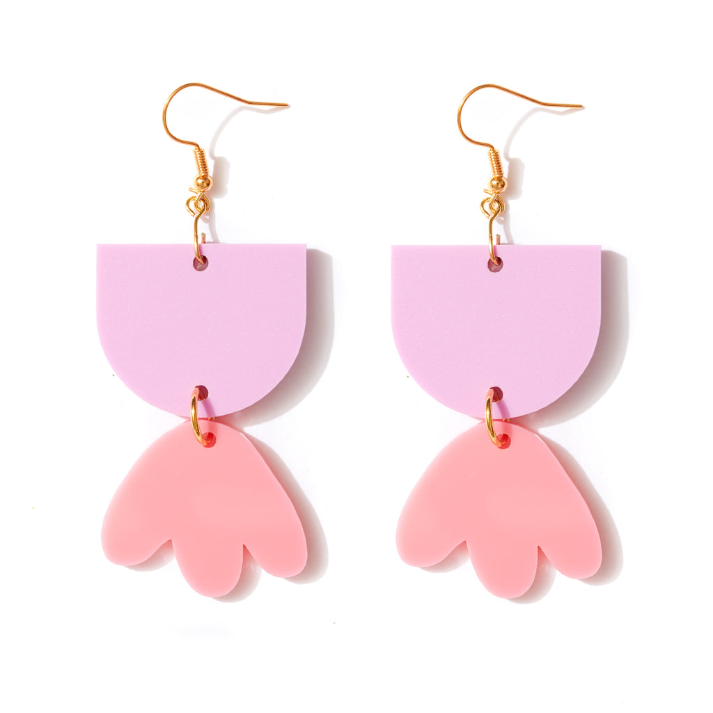 Bambi Earrings // mauve and bright pink