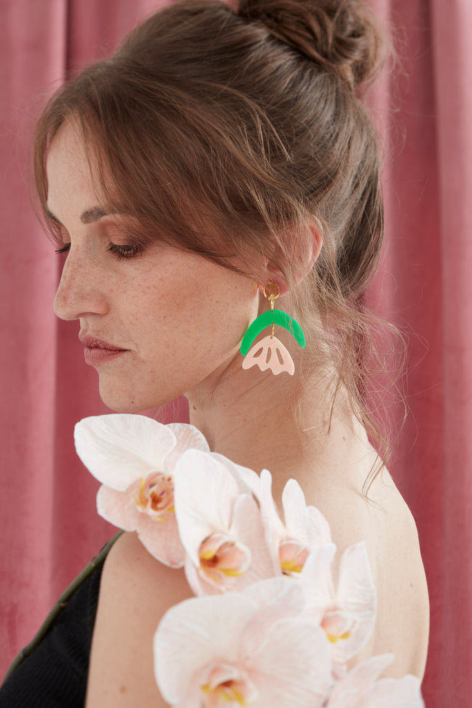 Arlie Earrings // Green + Pink