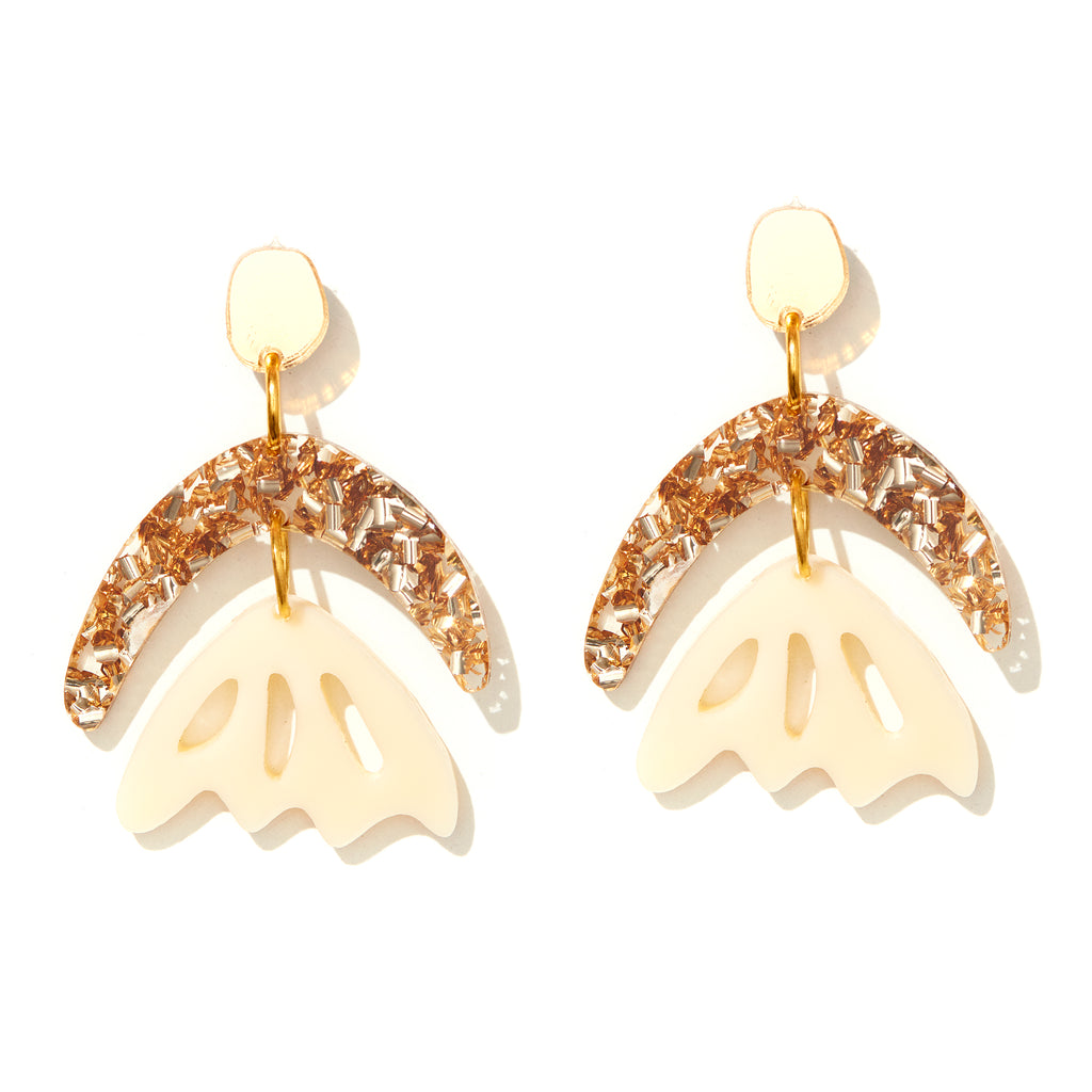 Arlie Earrings // Gold + Cream