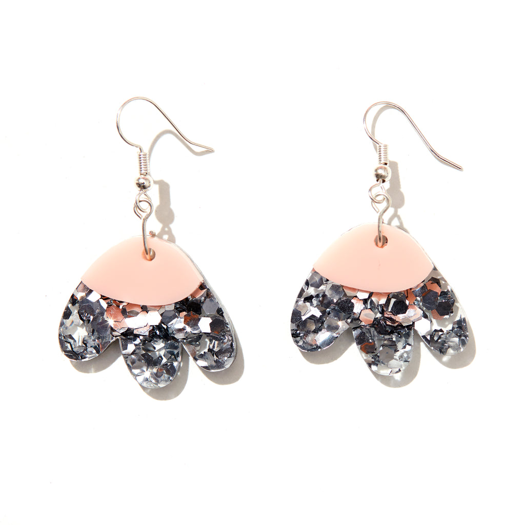 Elle Earrings // Silver Glitter with Baby Pink