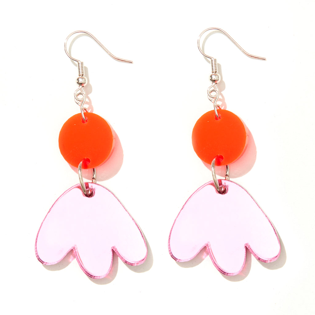 Scout Earrings // Neon Red with Pink Mirror