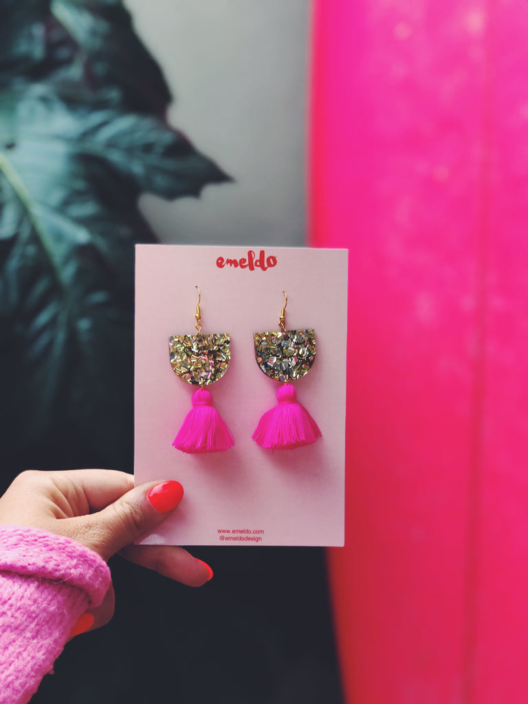 Annie Earrings // Gold & Silver with Barbie Pink