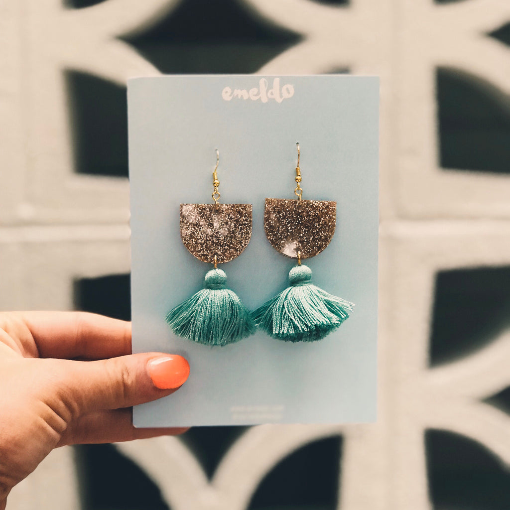 Annie Earrings // Gold Glitter & sage green