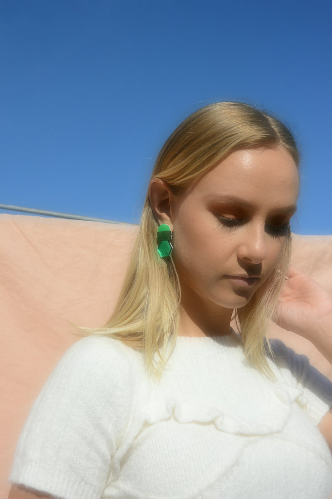 Lena Earrings // green, emerald and green mirror