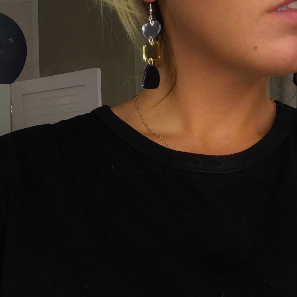 Vera Earrings // Gold, Silver + Charcoal Mirror