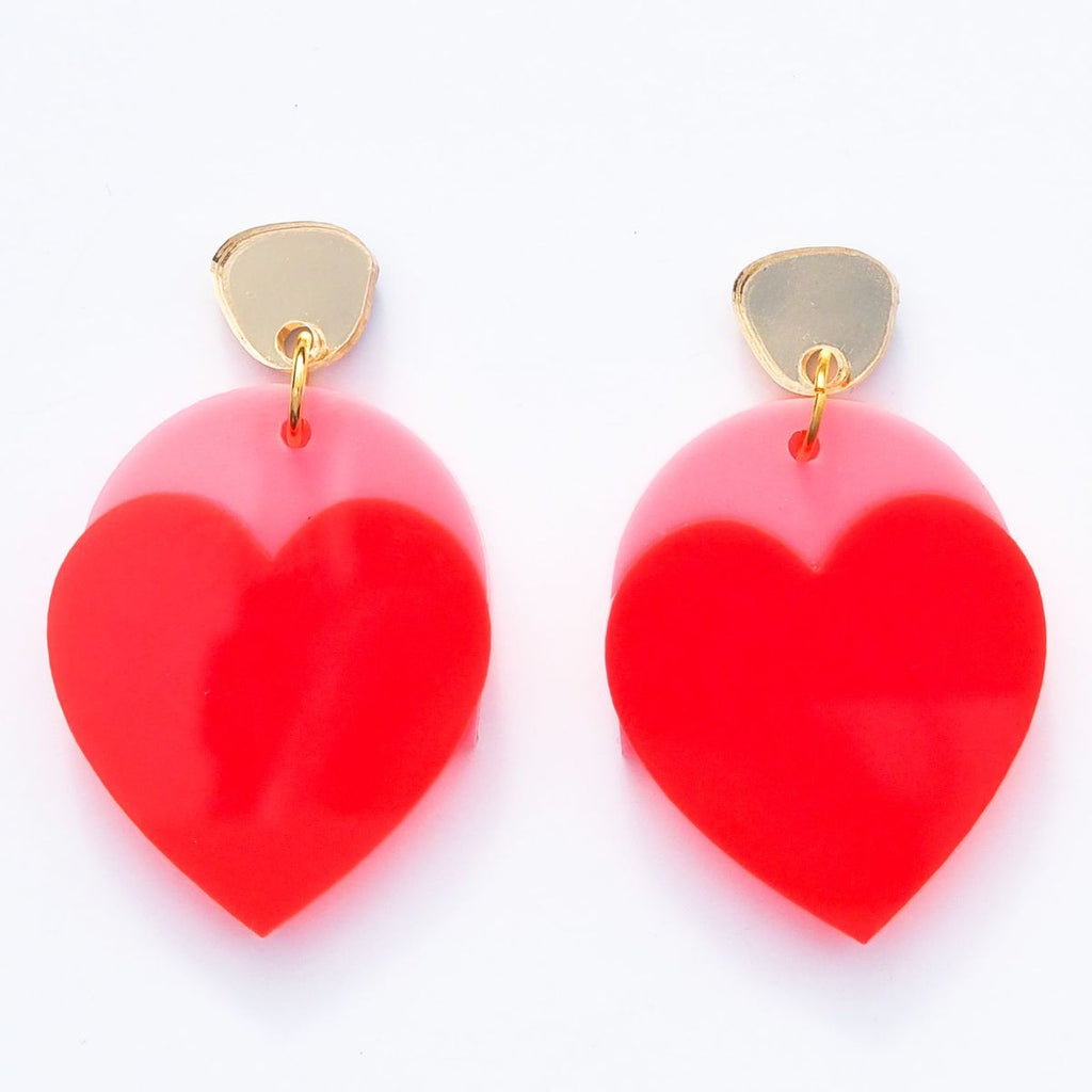 Just Love Me Earrings // Bright Pink + Neon Red