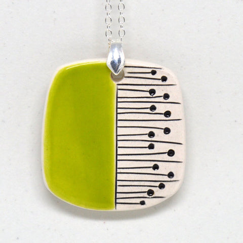 Isla Clay - Lime Green, Long Pendant.