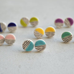 Isla Clay - Round, stud Earrings