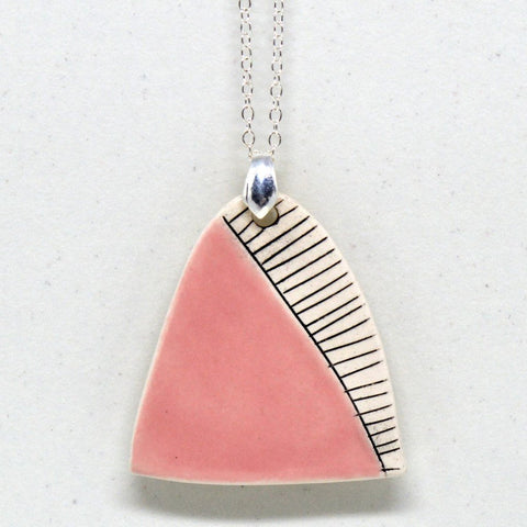 Isla Clay - Pink, Long Pendant.
