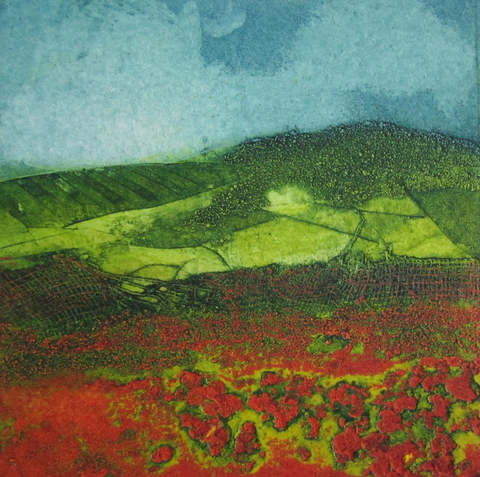 "Sarah Ross-Thompson ""Sunblush"" Collagraph  Limited edition Miniprint  No. 13/30"